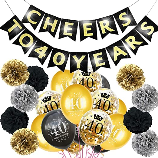 Happy Birthday Gold Glitter Banner Bunting Home Celebration Party Decor Hanging