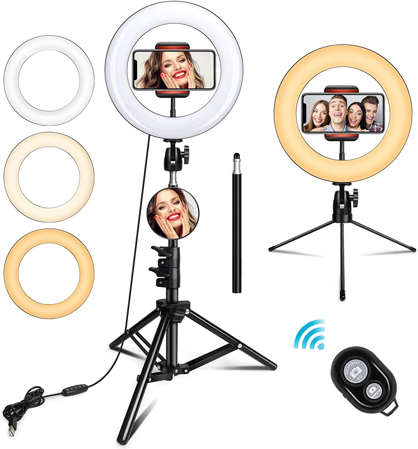 Tenrry LED Ring Light Fill Lighting Dimmable with Tripod Stand for Phone Camera Photo Video Selfie