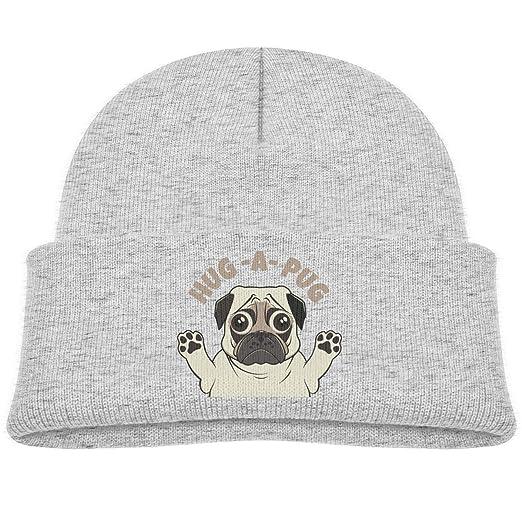 e09dd3fdfe8 Amazon.com  aoliaoyudongyongpin Hug A Pug Kids Knitted Hat Beanie ...