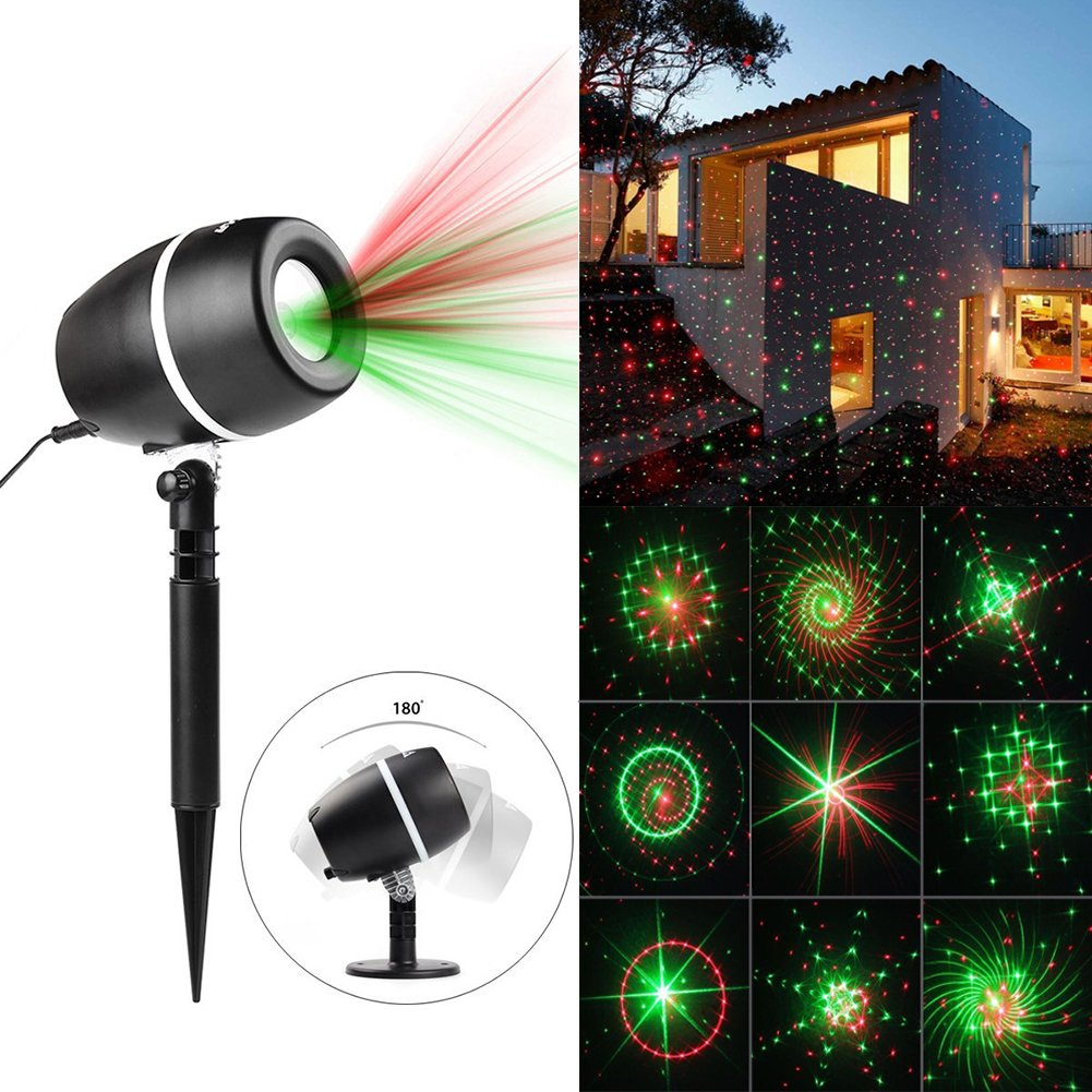 JINGOU Projector Light 24 Patterns Star Show Projection Lamp with Auto Timer, Waterproof Landscape Projector Lights for Christmas, Halloween, Holiday, Party, Garden Lawn Wall Decorations (Style1)