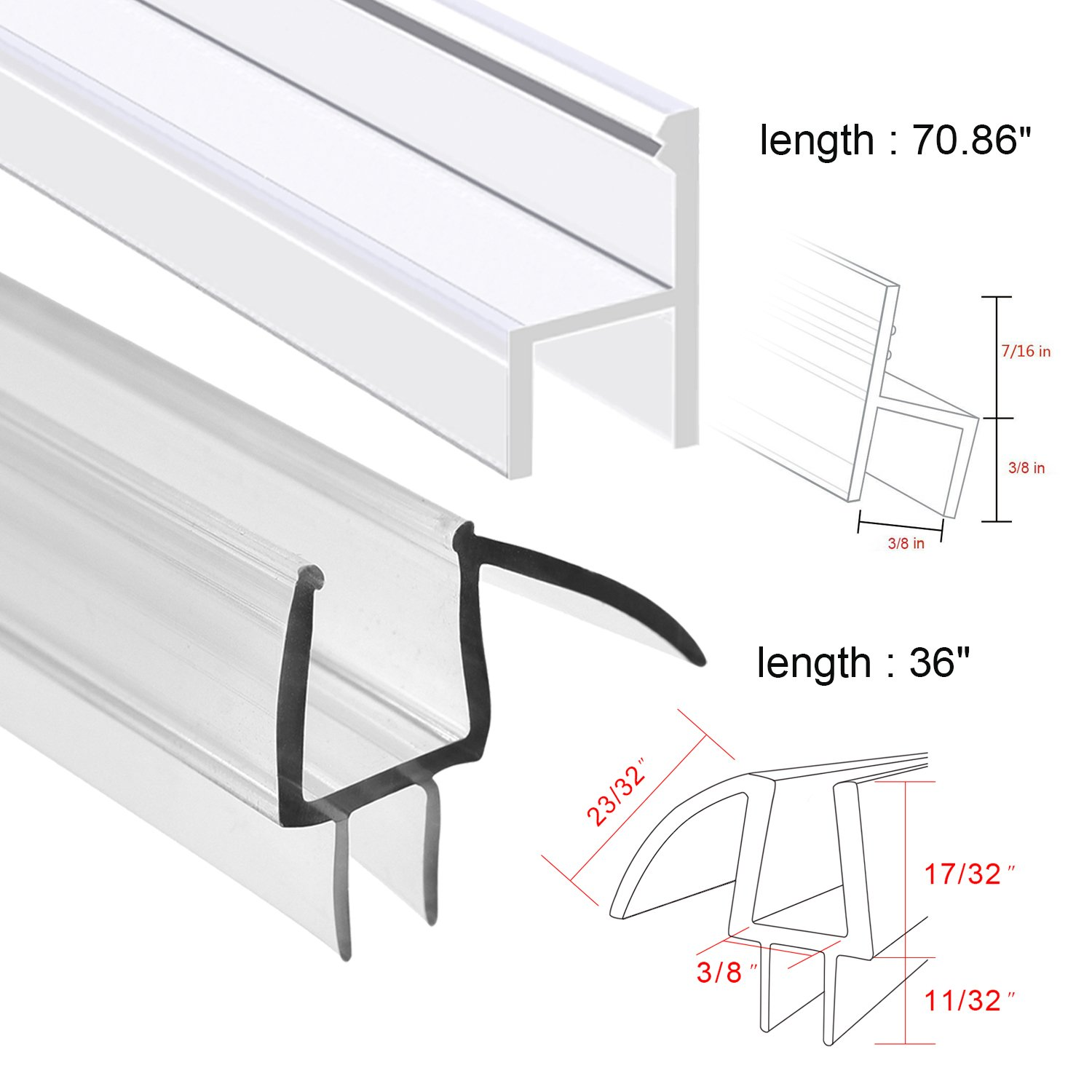Shower Door Sweep, Frameless Glass Shower Weather Stripping for Door Bottom-36 Inch Length M-3/8 inch + 72 Inch Length H-3/8 inch (3/8 inch(10mm), M+h-Type) by MAGZO (Image #3)