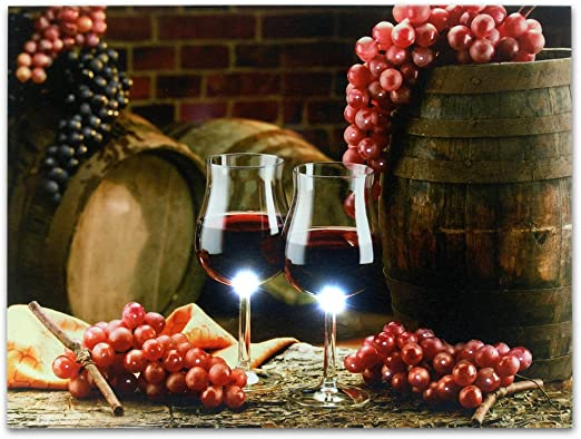 BANBERRY DESIGNS Grape Kitchen Decor - Wall Art with LED Lights - Canvas  Print - 2 Wine Glasses with Grapes and Barrels Picture - Wine Barrels
