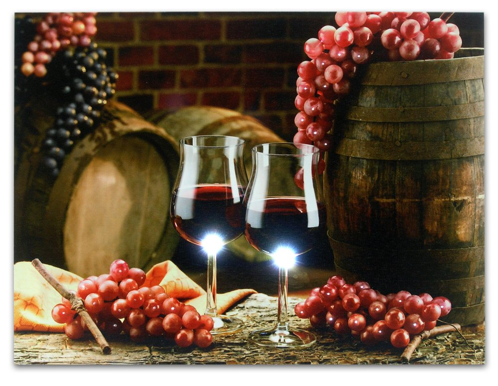 Wall Canvas Led Light Up Grapes Wine Home Kitchen Decor