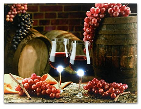 grape kitchen decor wall art with led lights canvas print 2 wine glasses