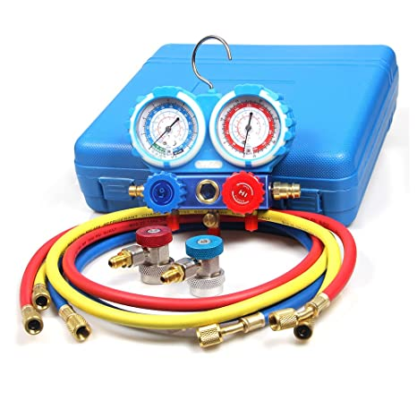 Goetland Brass Diagnostic Manifold Gauge Kit Charging Hoses Coupler  Adapters for AC Refrigerant R134a R404A R22 R12 HVAC 5 feet Blue Case