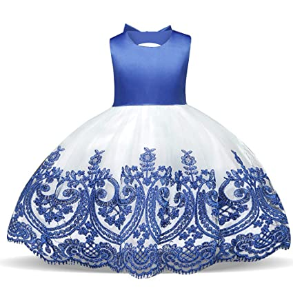 WUSIKY Baby Giels Kleid, Kind Mädchen Spitze Bowknot Prinzessin Hochzeit Leistung Formal Tutu Kleid Kleidung Minikleid Sommer