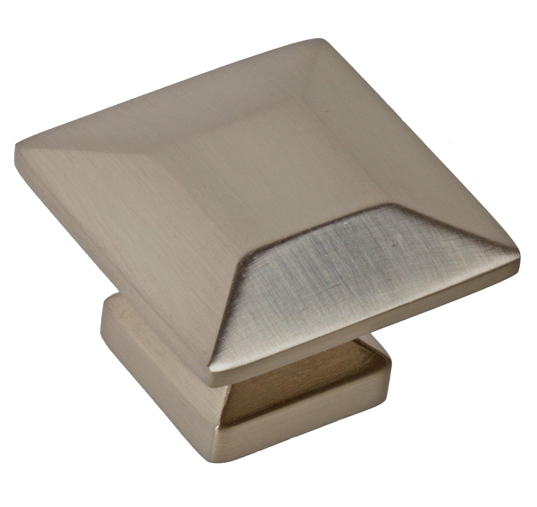 GlideRite Hardware 5101-SN-100 1.375 inch Satin Nickel Square Cabinet Knobs 100 Pack