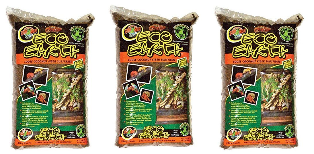 Zoo Med Eco Earth Loose Coconut Fiber Substrate, 8 Quarts Pack of 3 EE8X3