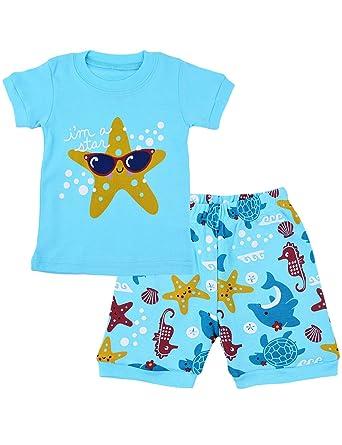 606104cbe3ea Tkria Kids Boys Pajamas Set Ocean World Easter PJS Short 100% Cotton ...
