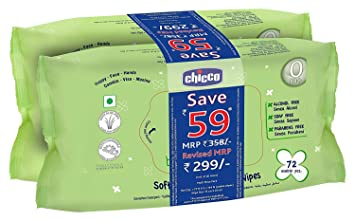 Chicco Baby Wipes 72  Multicolour    Pack of 2