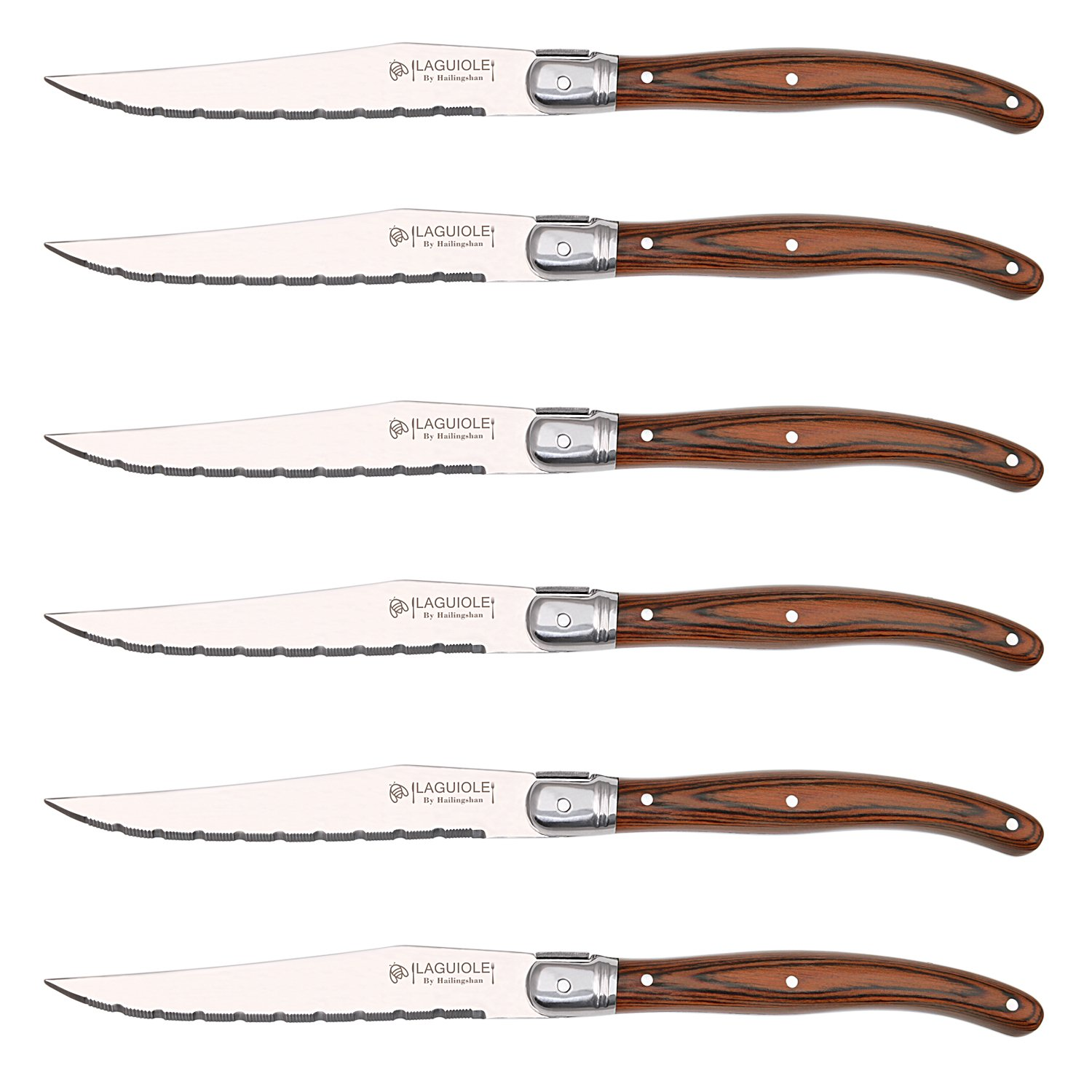 [Set of 6] Steak Knives Set,Laguiole by Hailingshan Stainless Steel Serrated Dishwasher Safe Premium Heavy Sharp Kitchen Cutlery Tableware Dinner Utensil Flatware Boxed Table Steak Knives-Wood Handle by Laguiole by Hailingshan (Image #1)