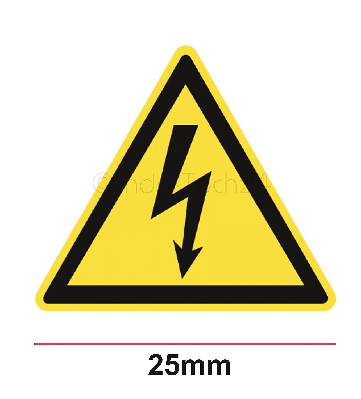 """50 Stück Aufkleber /"""" Warnung vor elektrischer Spannung W012 /"""" 25mm"""