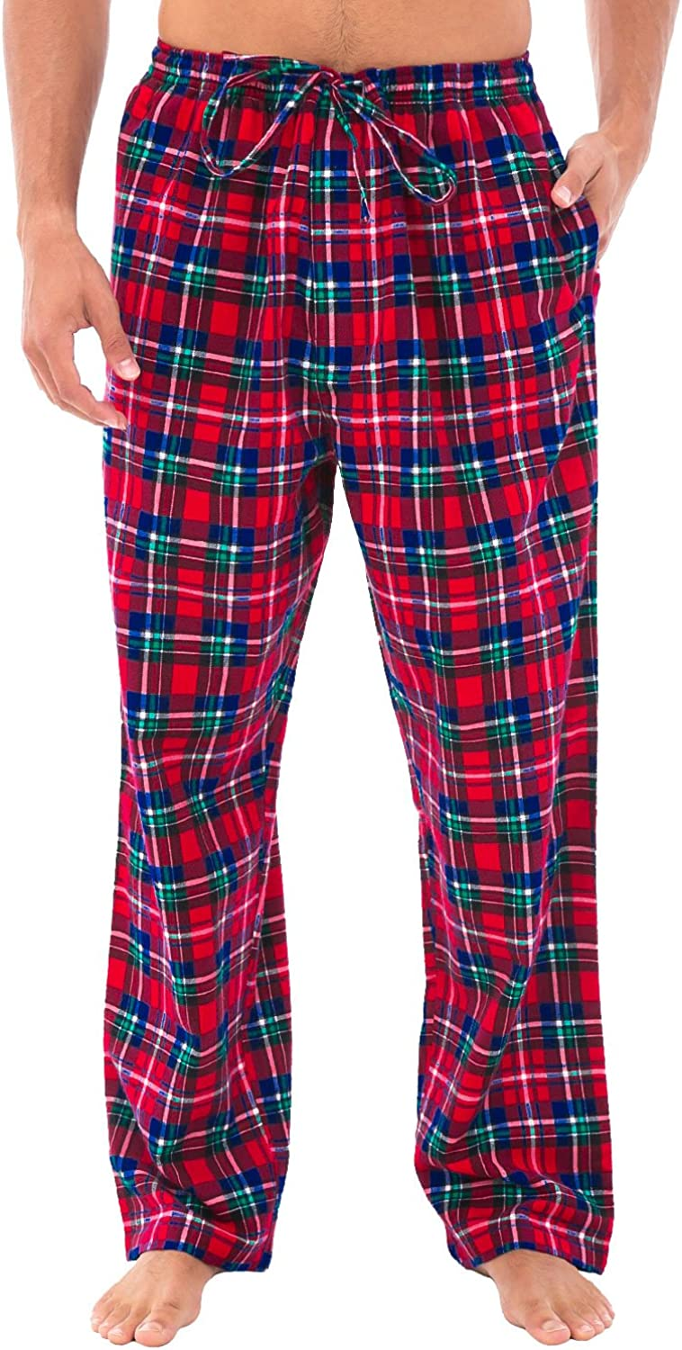 Alexander Del Rossa Men's Lightweight Flannel Pajama Pants, Long Cotton Pj Bottoms