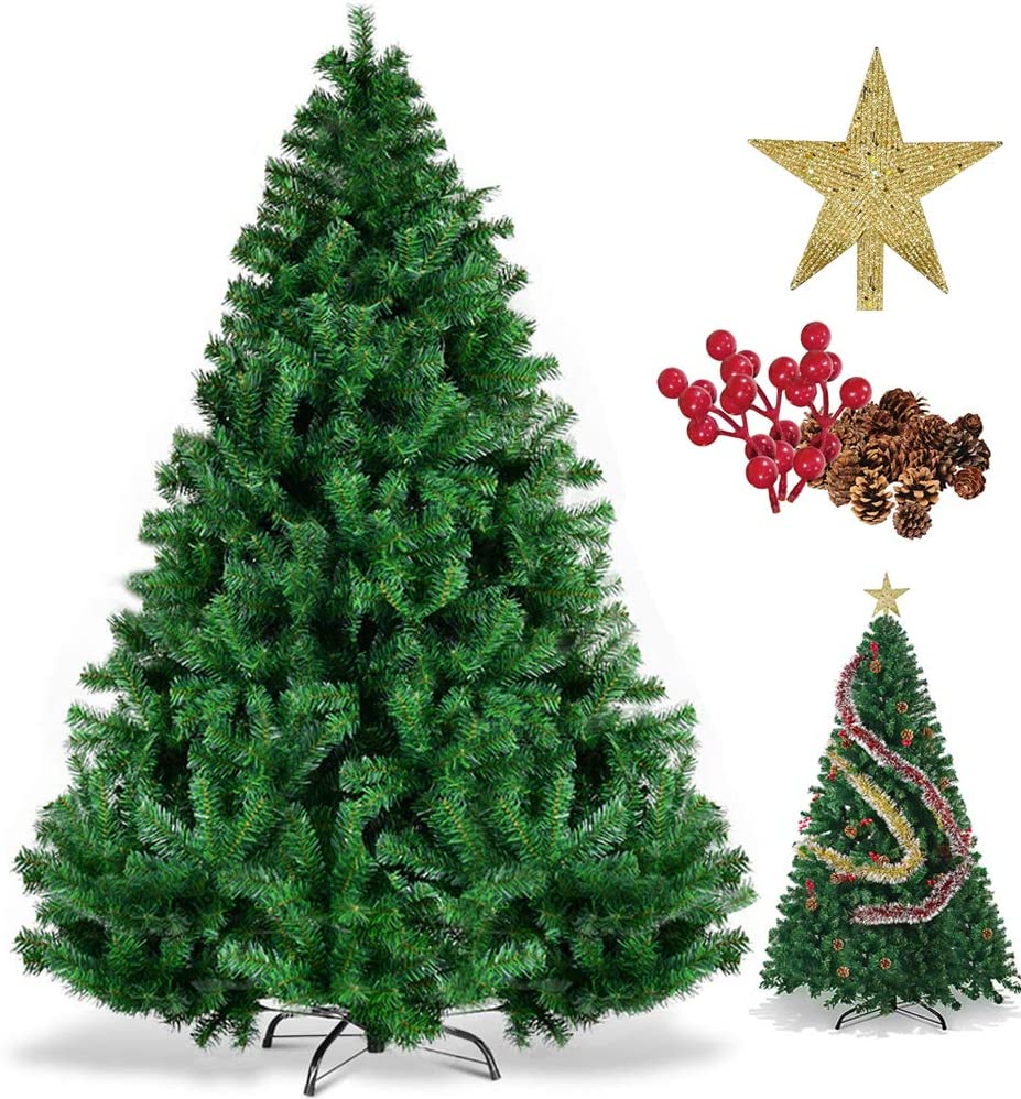 FREE STORAGE BAG FlickBuyz 5FT,6FT,7FT Xmas Tree Green Pine COLORADO Christmas Tree Metal Stand Spruce Artificial Tree 7ft Green 1000 Tips