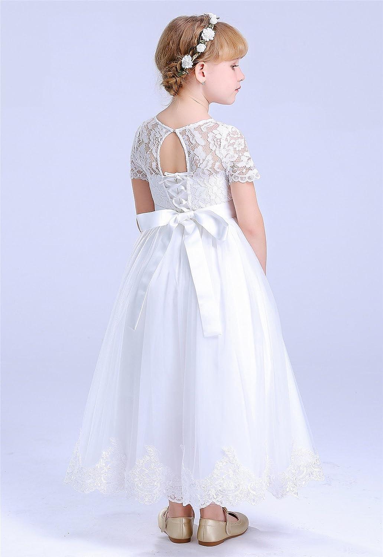 HAPPY ROSE Lace Flower Girls Dresses First Communion Dress: Amazon.co.uk:  Clothing