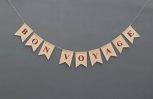 Bon Voyage Burlap Banner Nautical Going Away Party Decor Nautical Bon Voyage Sign Travel Party Going Away Party Theme Rustic Burlap Decor