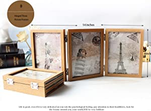 YONEYAN Vintage Retro Style Decorative Picture Photo Frame Hinged Table Desktop 3 Vertical Openings Made to Display Three 4x6 Inch Pictures with Glass (4x6 Triple, Style B)