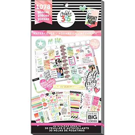 Me and My Big Ideas Super Pack de Pegatinas Watercolor Happy Planner