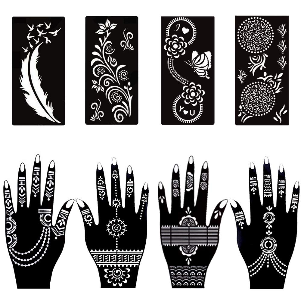 Henna Tattoo Stencil Body Art Reusable Sticker Stencils Airbrush Glitter Flower Butterfly Cartoon Animals Tattoo Template(145 Designs 6 Sheet) MANGOIT