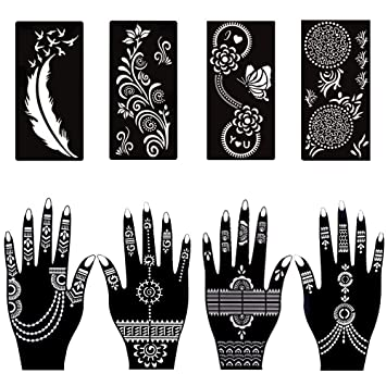 Amazon Com Henna Tattoo Stencils Hand Body Art Painting Template