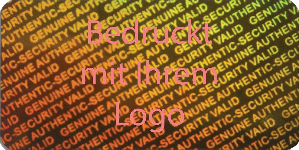 EtikettenWorld BV, EW-H-2900-GO-tlr-700, EW-H-2900-GO-tlr-700, EW-H-2900-GO-tlr-700, 700 Stück Hologrammaufkleber, 2D, 15x30mm Goldfarbige Metallfolie, bedruckt in hell-rot mit Ihrem Wunschtext Logo, Hologramm Etiketten, selbstklebend, Hologramm Aufkleber, Sicherheitssiegel, Garantiesiegel, Ga ab1b57