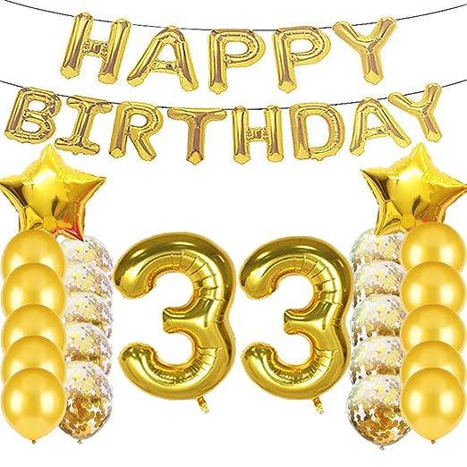 Globos de látex con diseño de número 33 para decoración de ...