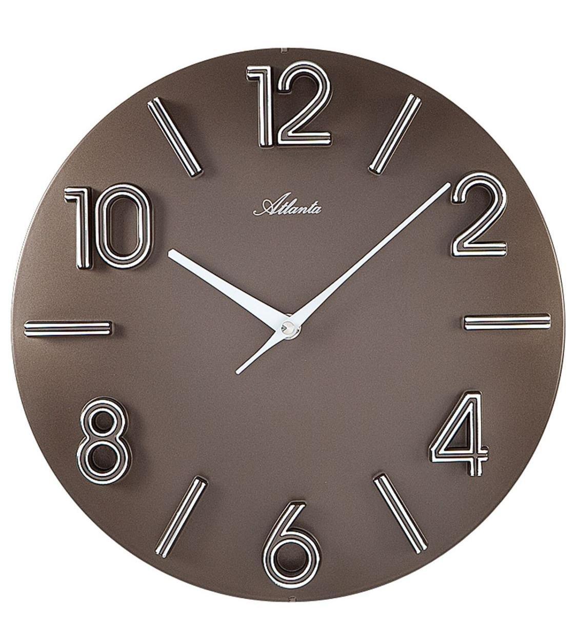 Amazonde Atlanta Quarz Wanduhr Moderne Wohnzimmer Uhr Farbe Braun 30cm Durchmesser Grosse Arabische