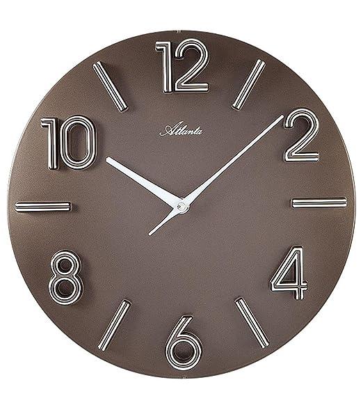 AmazonDe Atlanta Quarz Wanduhr Moderne Wohnzimmer Uhr Farbe Braun