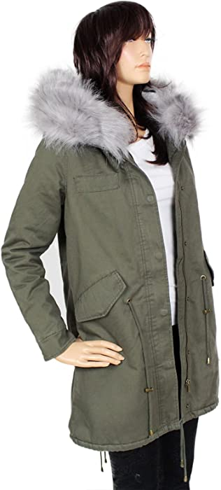 Damen Fashion Blogger Winter Parka Jacke Fell Mantel wZkiuTOXlP
