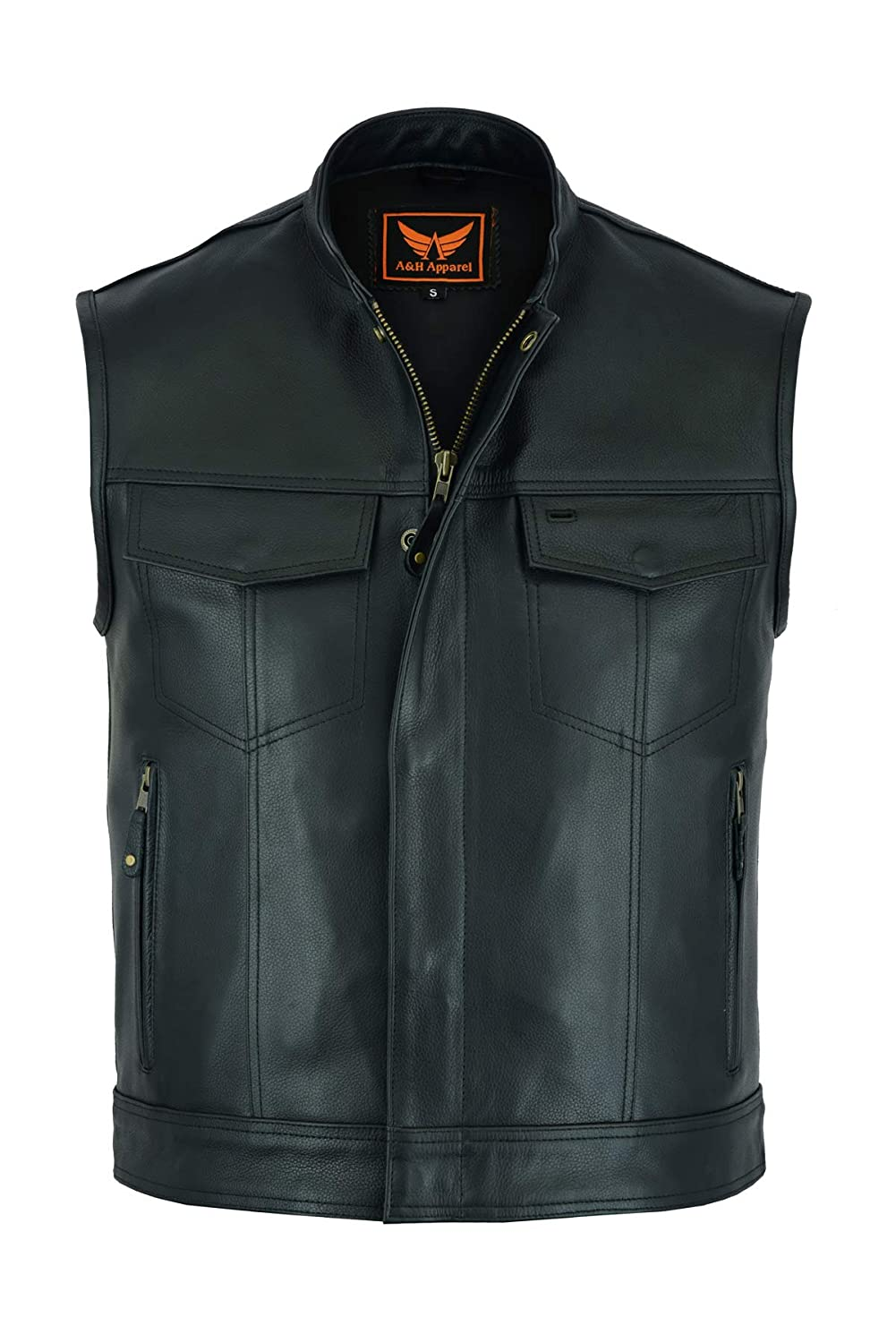 4X-Large A/&H Apparel Mens Genuine Cowhide Leather Vest Biker Vest Concealed Carry Durable Vest