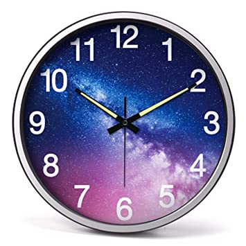 Reloj de Pared Salon Personalidad Fuerte Nightlight Reloj Digital Reloj de Pared Dormitorio de 14 Pulgadas de Silencio de Metal Reloj de Pared,B: Amazon.es: ...