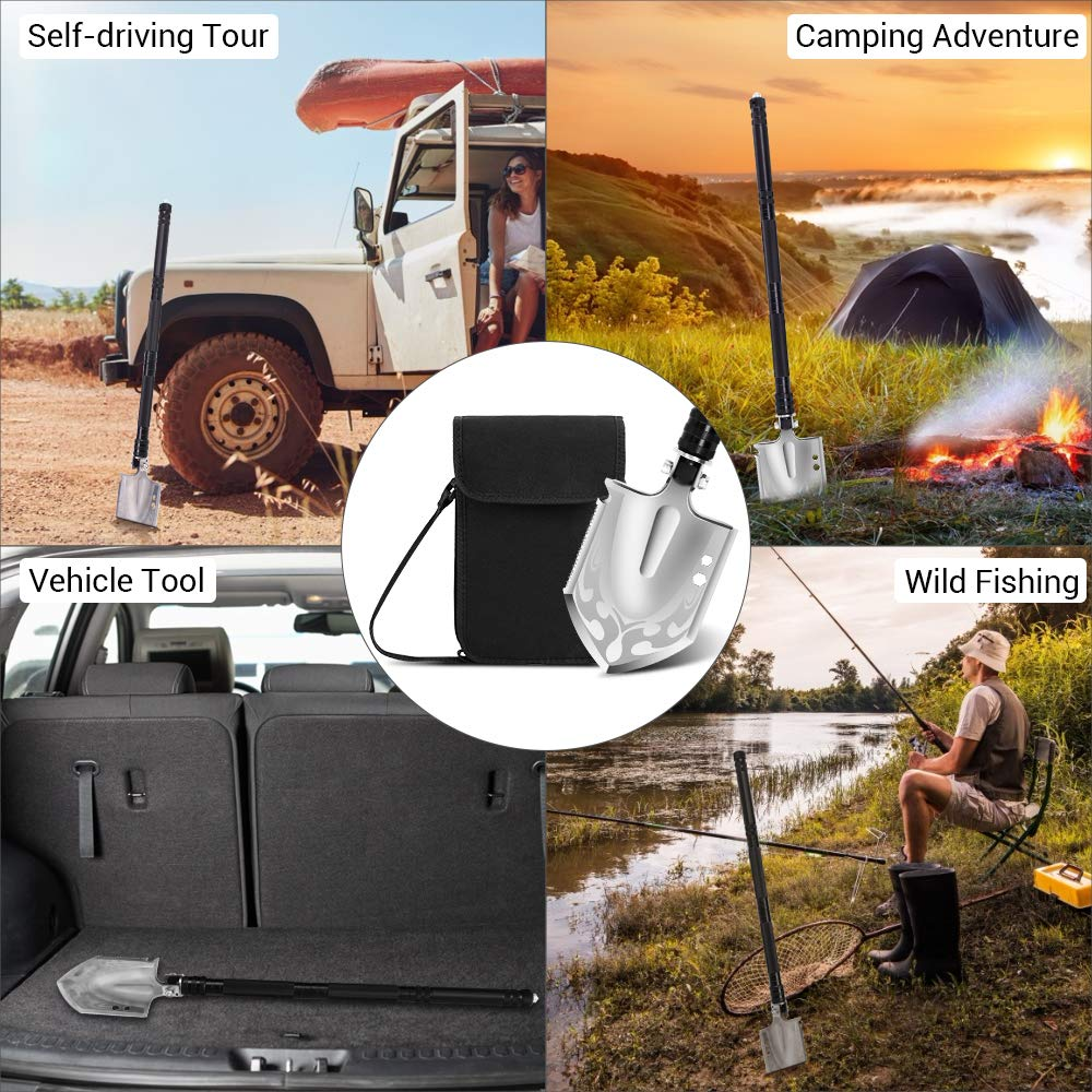 DONGKER Folding Shovel Military Survival Shovel Multitool Portable Tactical Entrenching Tool Compact Backpacking for Hunting, Camping, Hiking, Fishing, Gardening Car Emergency, 33''&19'' (Black-L) by DONGKER (Image #7)