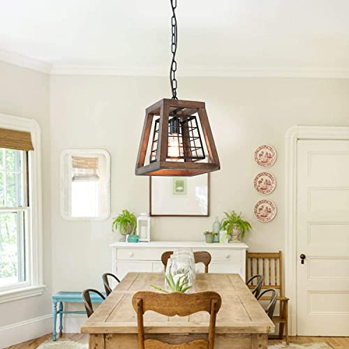 Eumyviv 1 Light Rustic Wood Pendant Light