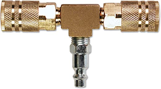 1//4 1//4 Primefit M1404-4 2-Way T-Style Air Manifold with Industrial 6-Ball Brass Couplers