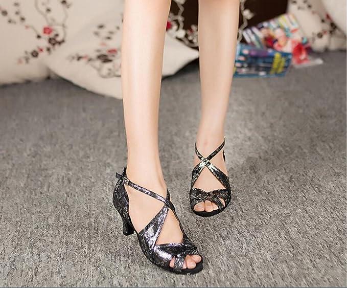 XUE Chaussures Latines Femmes Satin Sandale/Sneaker/Talon Pratique Boucle/Évider Chaussures de Danse Flare Talon Noir Soirée & Soirée (Couleur : 34) v07Qa