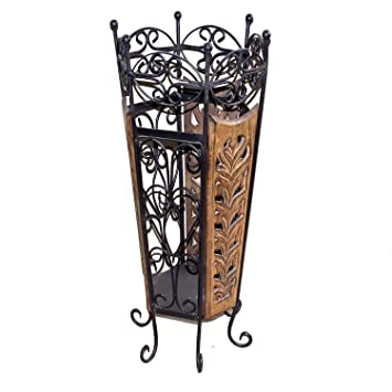 Buy Chilifry Decorative Wooden Wrought Iron Umbrella Stand cum