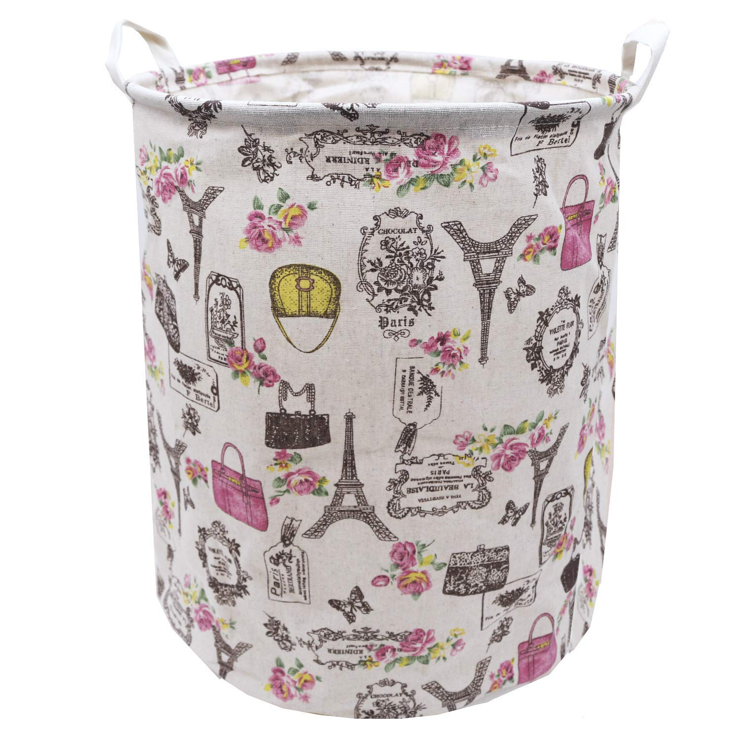 Laundry Hamper Collapsible Storage Bin 19.7 x 15.7 Inch, Munzong Waterproof Canvas Linen Organizer Clothes Large Laundry Basket for Baby Nursery, Kids Girls Room, Office, College Dorm (Eiffel Tower)