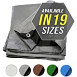 Tarp Cover Silver/Black Heavy Duty Thick Material, Waterproof, Great for Tarpaulin Canopy Tent, Boat, RV or Pool Cover…