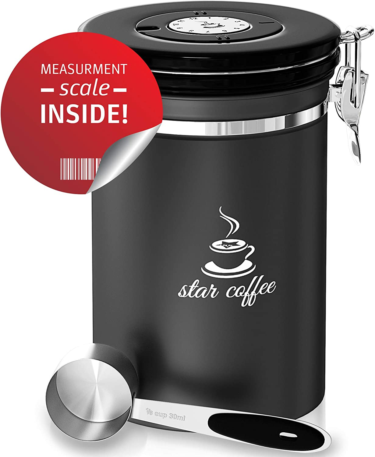 Star Coffee Container Airtight Coffee Storage - Stainless Steel Canister with Measuring Scoop for Beans or Ground Coffee, 5 CO2 Valve Filters, Freshness Calendar, eBook, Large Coffee Holder 22oz