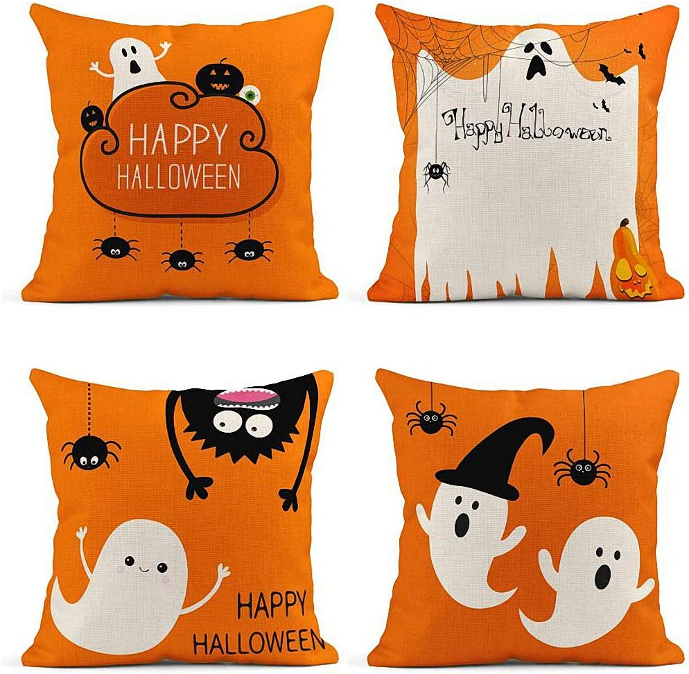ArtSocket Set of 4 Throw Pillow Covers Ghost Pumpkin Eyeball Three Hanging Spiders Happy Halloween Cloud Orange Decor Linen Pillow Cases Home Decorative Square 18x18 Inches Pillowcases