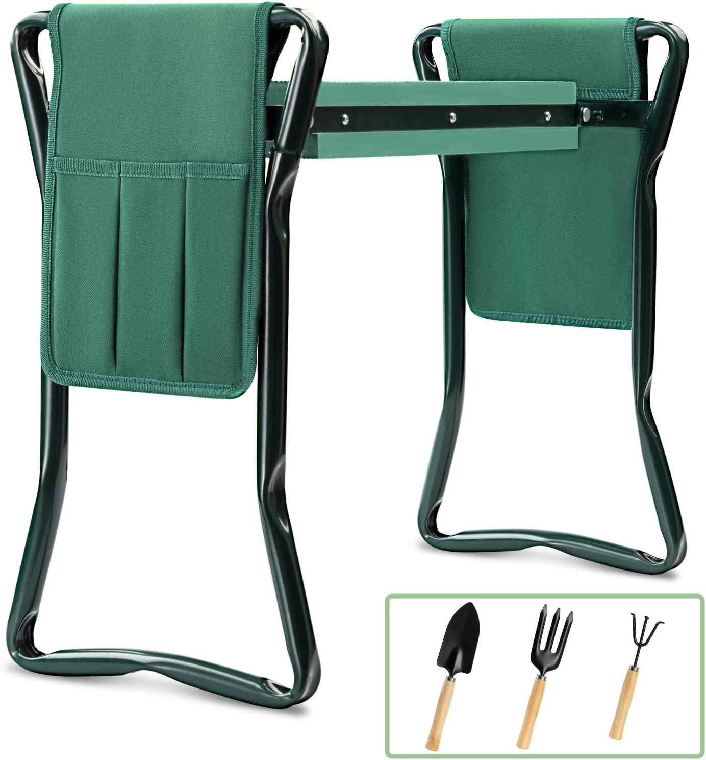 Garden Kneeler and Seat Bench Stools KITADIN Foldable Stool with Tool Bag Pouch EVA Foam Pad Outdoor Portable Kneeler for Gardening (5.9, 1)