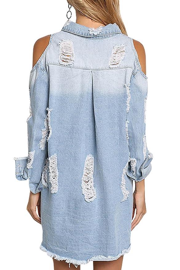 e8ecc0363a PiePieBuy Women s Distressed Ripped Denim Jean Jacket Shirt Dress Cold  Shoulder Long Sleeve Shirt Dresses Chambray Blouse at Amazon Women s  Clothing store