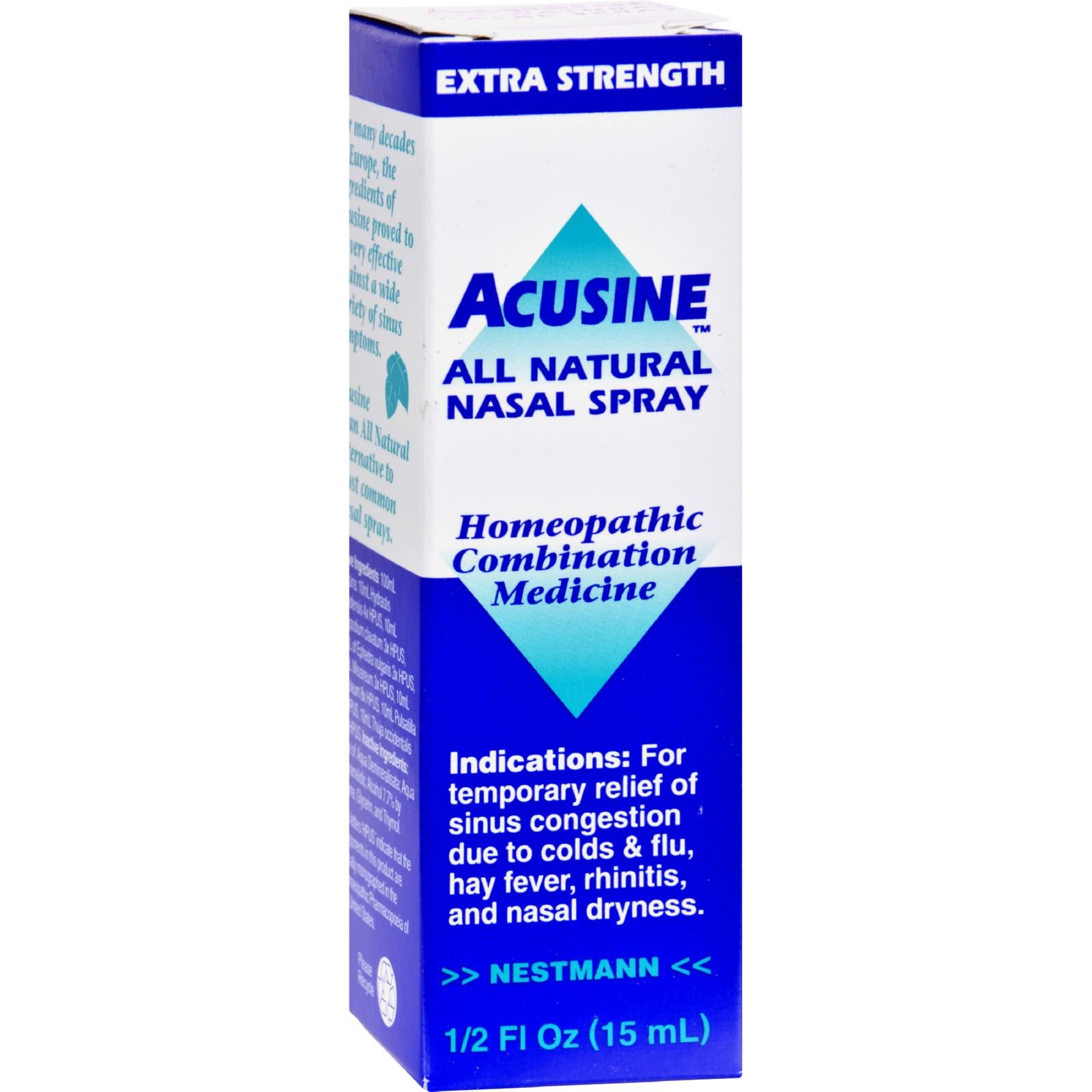 Acusine All Natural Nasal Spray - Homeopathic - Easy To Use - .5 oz (Pack of 2)