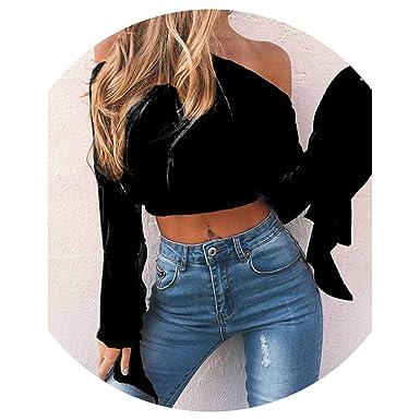 b278ea14ff Vintage Slash Neck Off Shoulder Velvet T-Shirt 2019 Slim Fit t Shirt  Shoulderless Tops