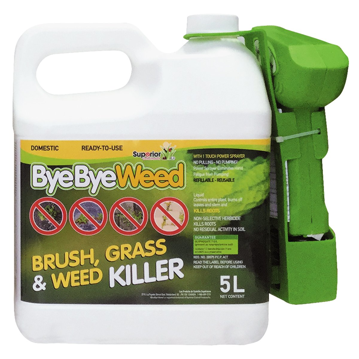 BYEBYE Weed RTU Brush, Grass & Weed Killer with 1 Touch Power Sprayer
