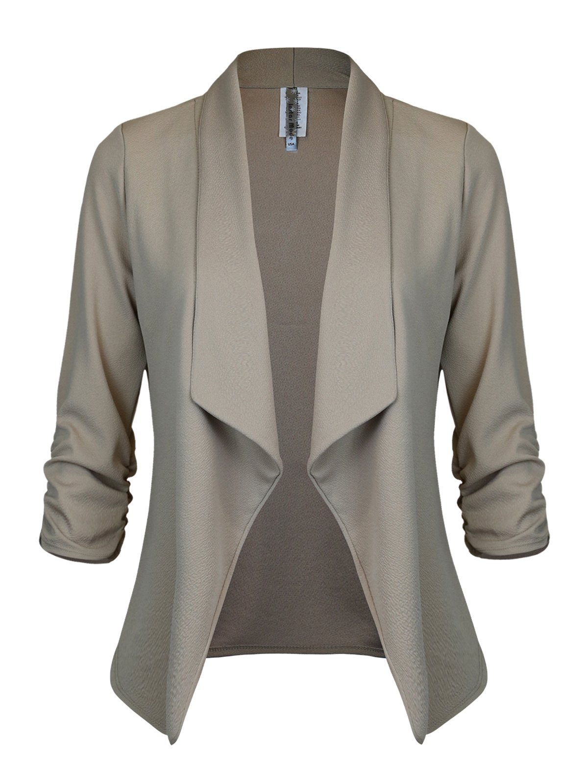 Instar Mode Women's Classic 3/4 Sleeve Open Front Blazer Jacket [S-3X] -Made in USA Khaki L