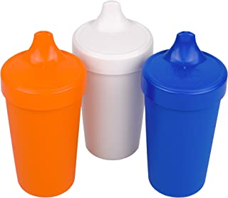 product image for Re-Play Made in USA 3pk No Spill Sippy Cups for Baby, Toddler, and Child Feeding in Orange, White and Navy | Made from Eco Friendly Heavyweight Recycled Milk Jugs - Virtually Indestructible (Sport)