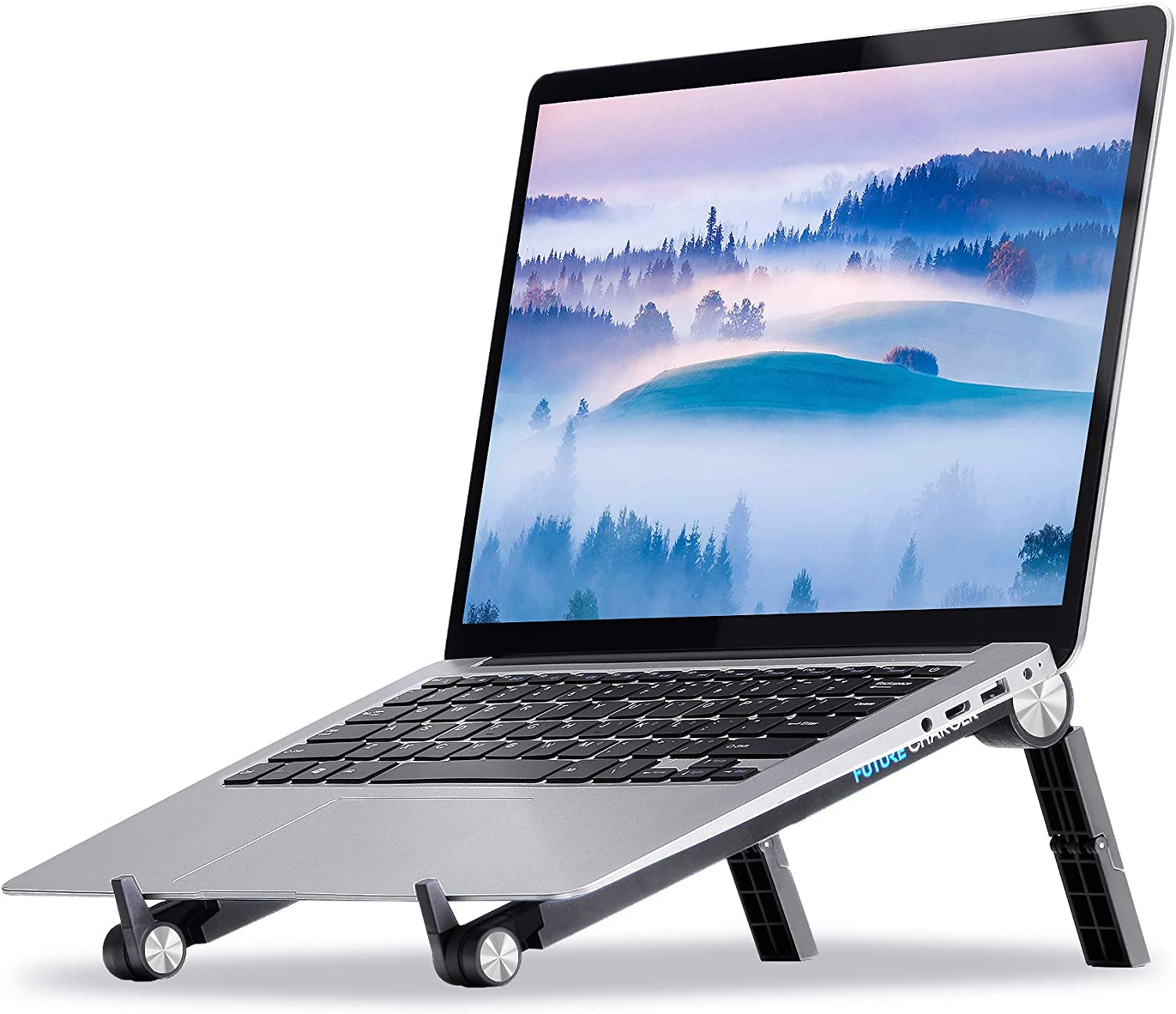 """Laptop Stand, Laptop Holder Adjustable Height, Portable Computer Stand for Laptop Compatible with Apple MacBook, Air, Pro, Dell XPS, HP, Lenovo and More 10"""" - 17"""" Notebooks (Black)"""