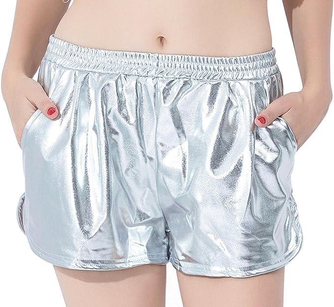 speerise Womens Casual Shiny Metallic High Waisted Loose Running Yoga Shorts