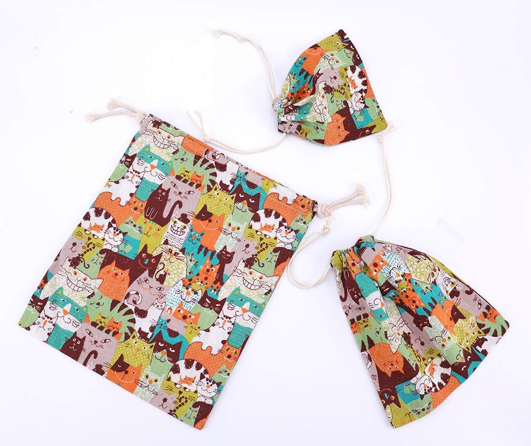 Amoyie 19x23 3 pezzi organizer borsa cotone con coulisse per bimba abiti pannolini giocattoli matite colorate caramella regalo + Piccola sacche in 3 taglie + 25x30cm 15x16